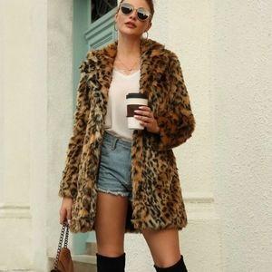 Shein Leopard Print Faux Fur Jacket M